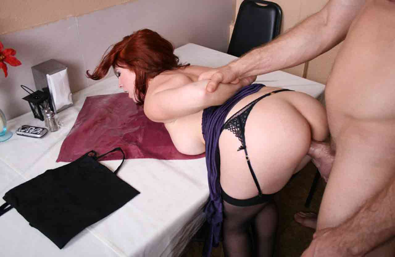 Curvy Brunette Mature In Stockings Enjoys Doggy Style Fuck